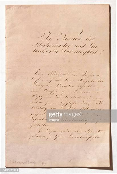 Peace treaty of Prague between Austria and Prussia on 23th August 1866 Prague Certificate Document Charter