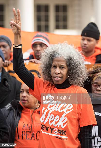 Peace Week creator Erica Ford attends the 6th annual New York Peace Week press conference at City Hall on January 15, 2016 in New York City.