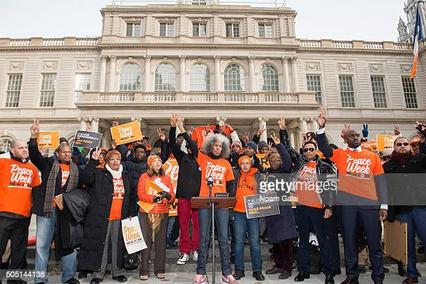 Peace Week creator Erica Ford speaks during the 6th annual New York Peace Week press conference at City Hall on January 15 2016 in New York City