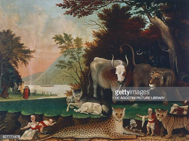 Peaceable Kingdom ca 1848 painting by Edward Hicks oil on canvas 606x81 cm United States 19th century Buffalo AlbrightKnox Art Gallery