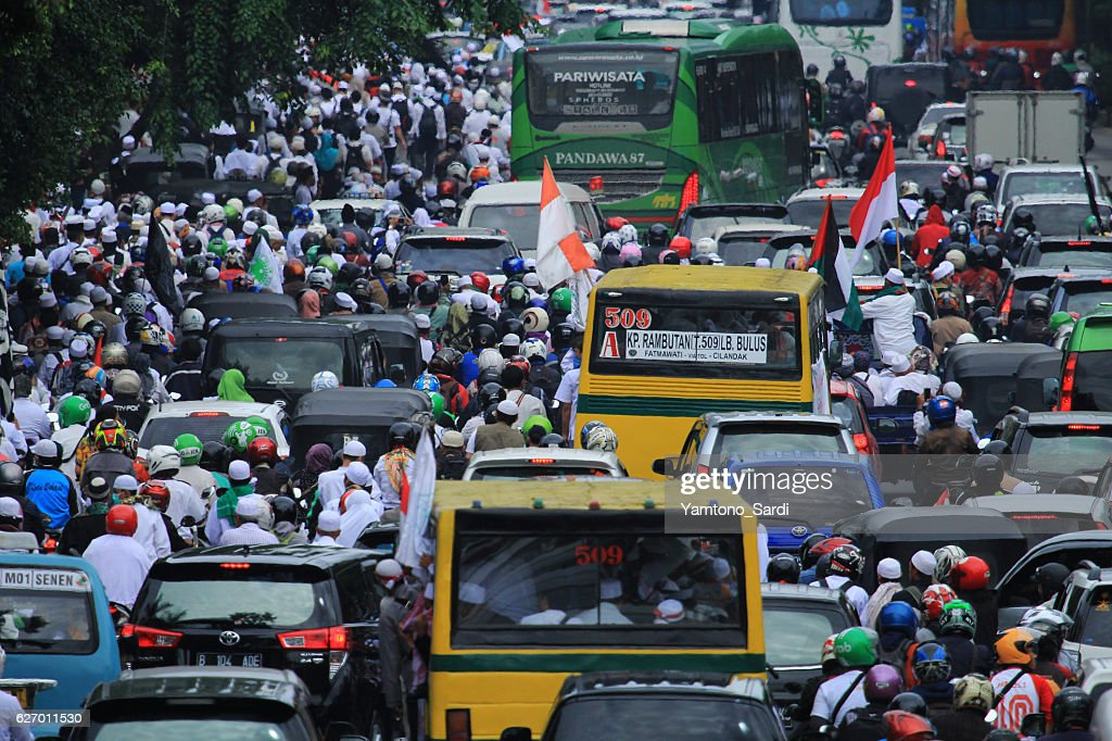 212 peaceful action, in Jakarta, Indonesia : Stock Photo