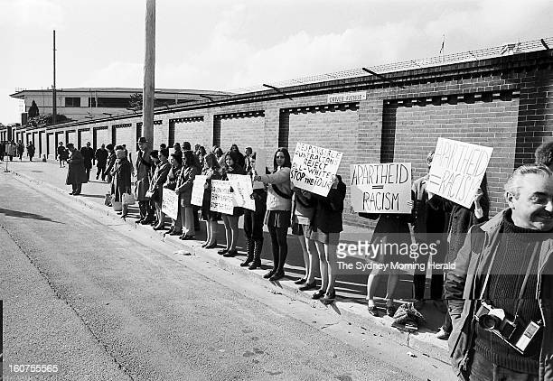 A peaceful antiapartheid demonstration is held outside the Sydney Cricket Ground during a rugby union match between Australia and the Springboks at...