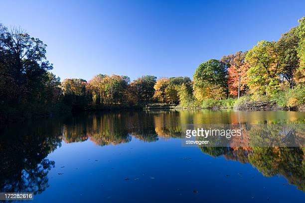 Peaceful Autumn Lake in Illinois