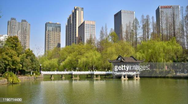 peaceful chinese garden landscape contrasted with modern city skyline in the back, hefei, china - anhui province stock pictures, royalty-free photos & images