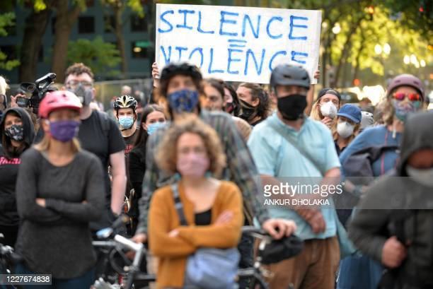 A peaceful crowd protest during a demonstration in front of the Multnomah County Justice Center in Portland Oregon on July 17 2020 Rights activists...