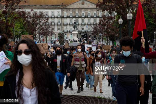 Peaceful demonstration against racism, xenophobia and fascism, in Praça da Liberdade, in the center of Porto, with the presence of thousands of...
