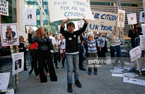 A peaceful demonstration is held in support of British computer hacker Gary McKinnon outside the Home Office on September 2 2008 in London England...