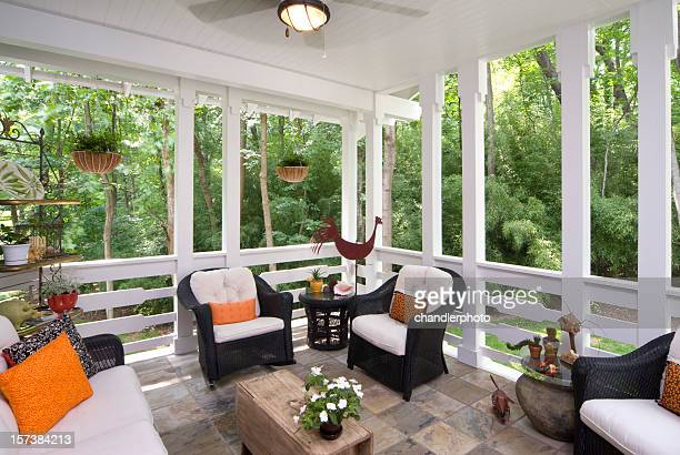 peaceful enclosed back deck/porch with furniture - confined space stock pictures, royalty-free photos & images
