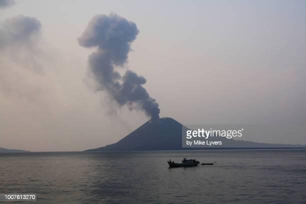 Peaceful evening in the Sunda Strait with Krakatau volcano