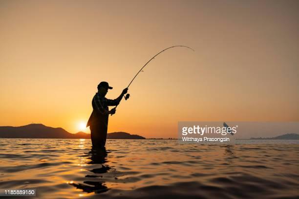 peaceful fishing at a lake - meeroever stockfoto's en -beelden