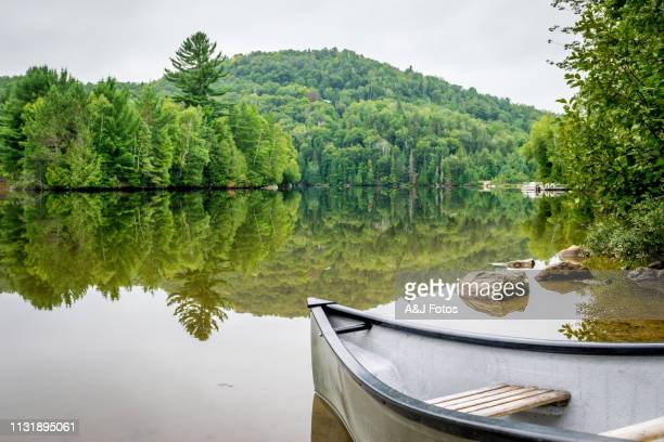 peaceful fishing lake with mountain range - fishing industry stock pictures, royalty-free photos & images