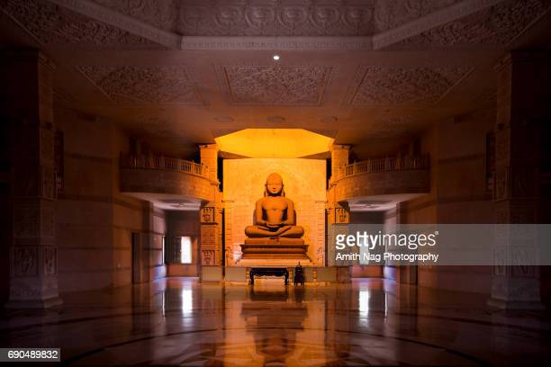 a peaceful jain temple from rajasthan, india - jain temple stock photos and pictures