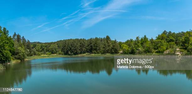 peaceful lake in the mountains - flussufer stock-fotos und bilder