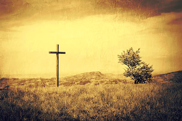 Illuminated Christian Cross Background Peaceful Landscape With A
