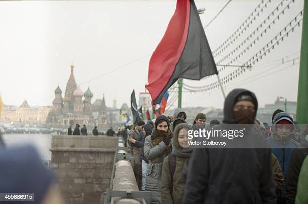 Peaceful march of protest before the 3rd reelection of Vladimir Putin in March 2012. There were many groups and parties protesting in different...