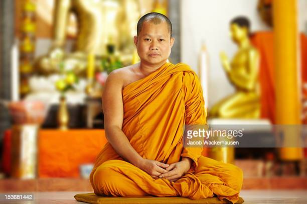 Peaceful monk in saffron robes