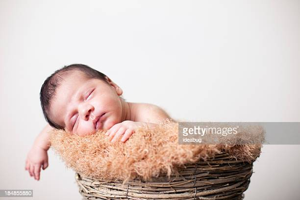 peaceful newborn sleeping in basket with white background - mexican and white baby stock photos and pictures