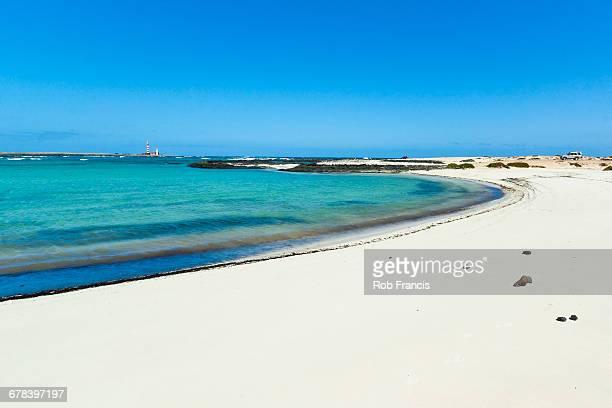 Peaceful northern sandy beach on the road to Corralejo near this quiet village, El Cotillo, Fuerteventura, Canary Islands, Spain, Atlantic, Europe