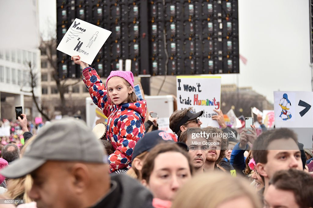 Peaceful protesters demonstrate during the Women's March On Washington on January 21, 2017 in Washington, DC.