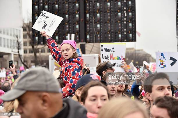 Peaceful protesters demonstrate during the Women's March On Washington on January 21 2017 in Washington DC