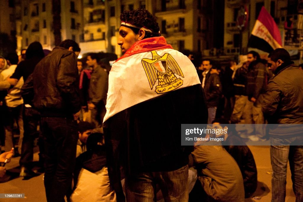 Peaceful protestors gathered for weeks listening to chants in Tahrir Square on February 9, 2011 in Tahrir Square in downtown Cairo, Egypt.