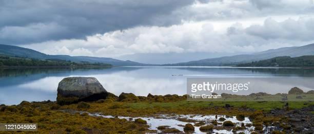 Peaceful scene at Loch Eil, a sea loch in Lochaber, Scotland that opens into Loch Linnhe near Fort William, Scottish Highlands.