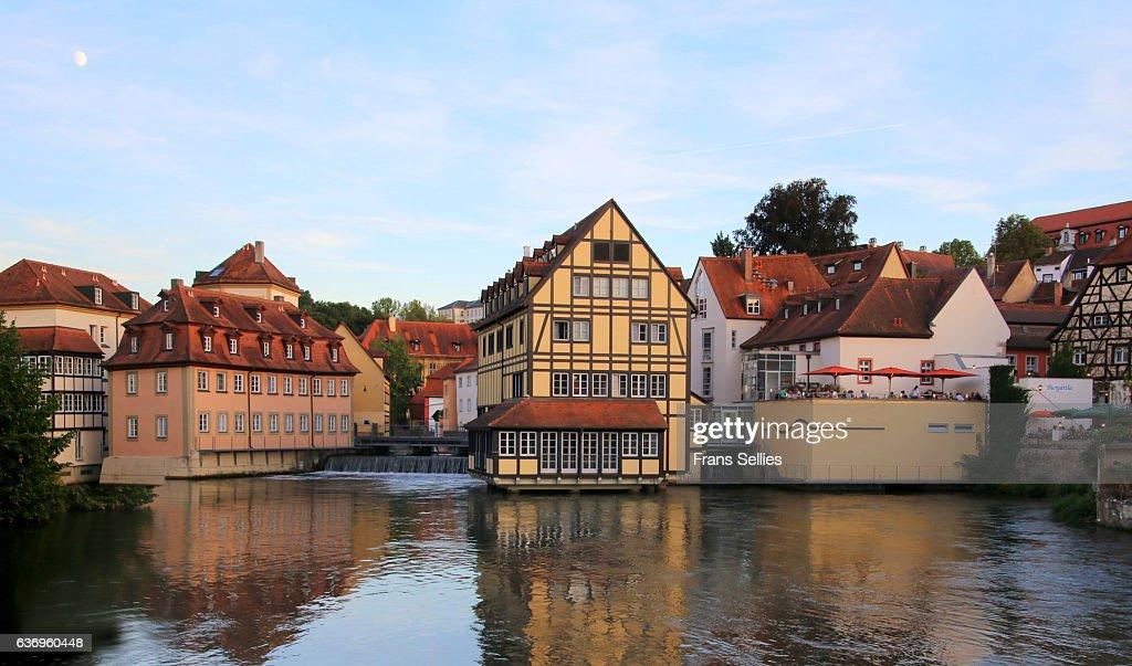 Peaceful scene in Bamberg on the Regnitz river, Germany : Stockfoto