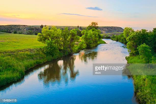 peaceful sunset stream in rural montana - river stock pictures, royalty-free photos & images