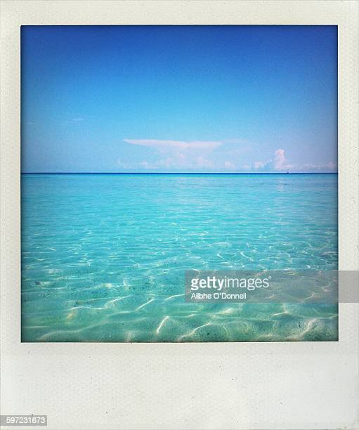 Peaceful water and blue sky in Cuba polaroid