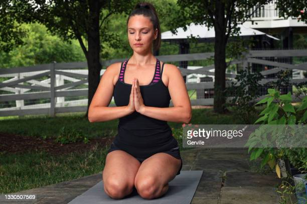 peaceful yoga practice - gerville stock pictures, royalty-free photos & images