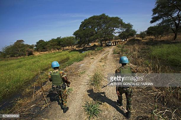 TOPSHOT Peacekeeper troops from Ethiopia and deployed in the UN Interim Security Force for Abyei patrol outside Abyei town in Abyei state on December...