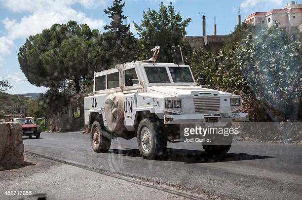 UN Peacekeepers and armored vehicle in southern Lebanon
