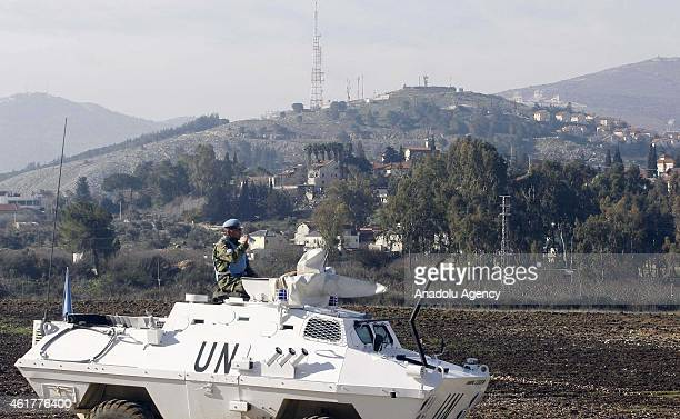 Peacekeepers of the United Nations Interim Force in Lebanon patrol in the southern Lebanese town of Kfar Kila, near the border with Israel, on...
