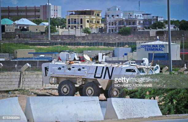 A UN peacekeeper's vehicle IS parked at the entrance of Mogadishu airport on May1 2017 / AFP PHOTO / MOHAMED ABDIWAHAB