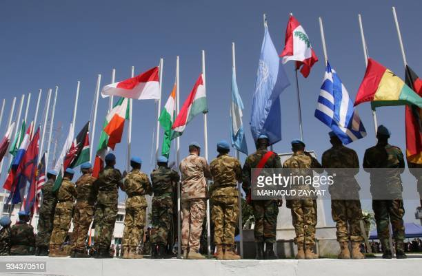 UN peacekeeping force in Lebanon liaison attend the UNIFLIS's 40th anniversary celebration at its base in Lebanon's southern border town of Naqura on...