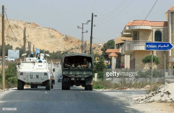 Peacekeeping troops with the United Nations Interim Force in Lebanon and Lebanese Army forces patrol an area near Marjayoun in southern Lebanon on...