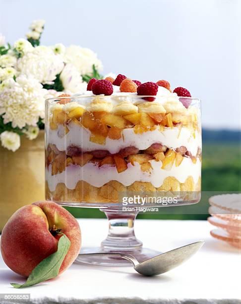 Peach and raspberry trifle