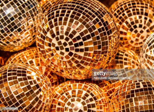 peach coloured ornate ornament  balls for christmas decoration - peach colour stock pictures, royalty-free photos & images