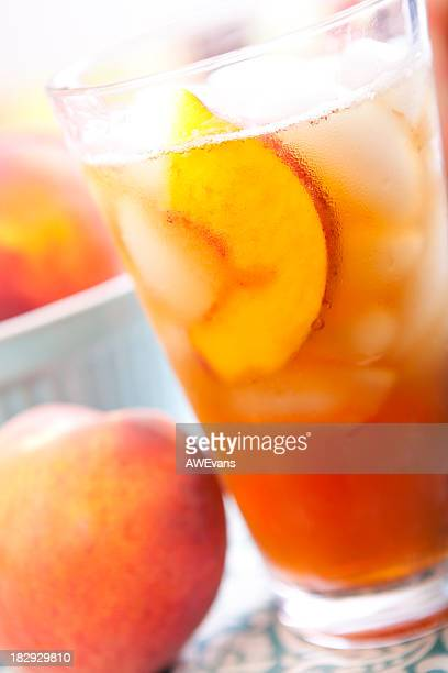 peach iced tea - peach tree stock pictures, royalty-free photos & images