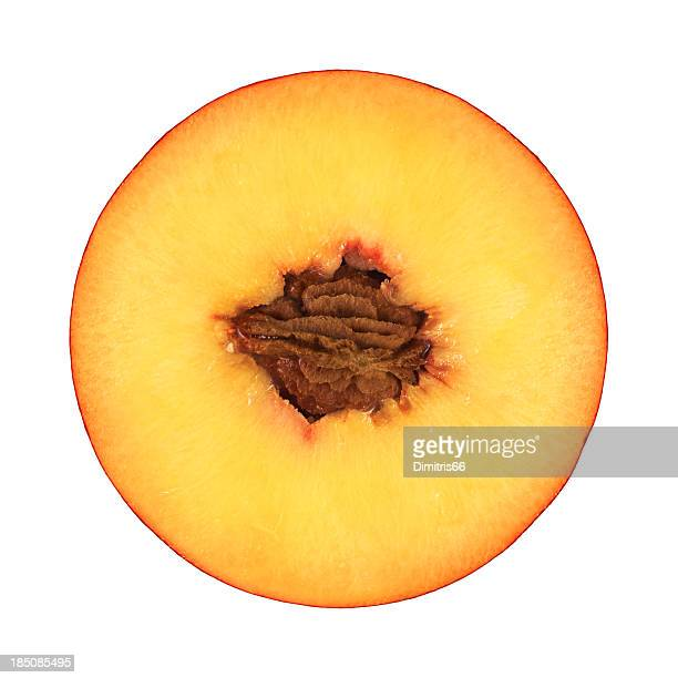 Peach portion on white