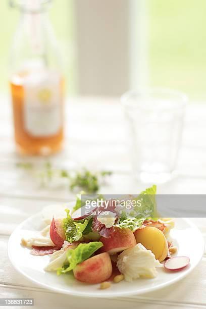 Peach, radish and mozzarella salad
