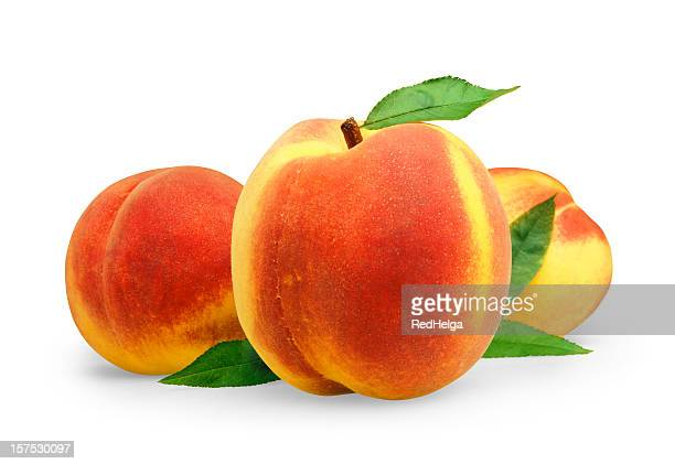 peach three with leafs - peach stock photos and pictures