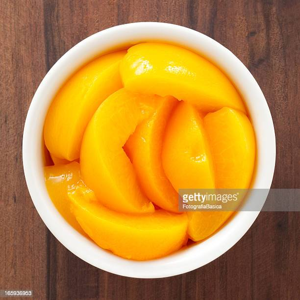peach wedges - peach stock photos and pictures