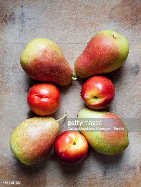 Peaches and pears, overhead view