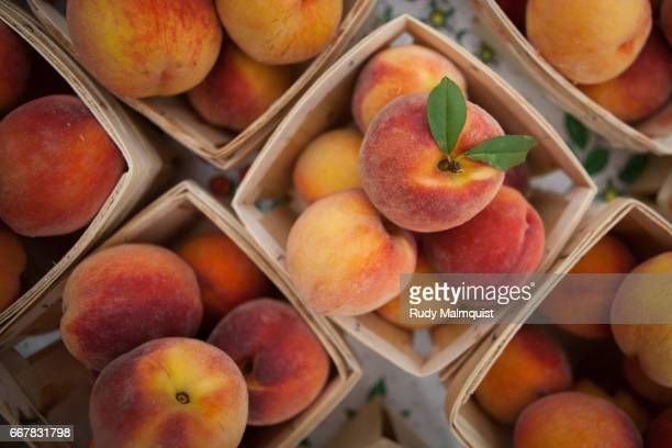 peaches by the quart - peach stock photos and pictures