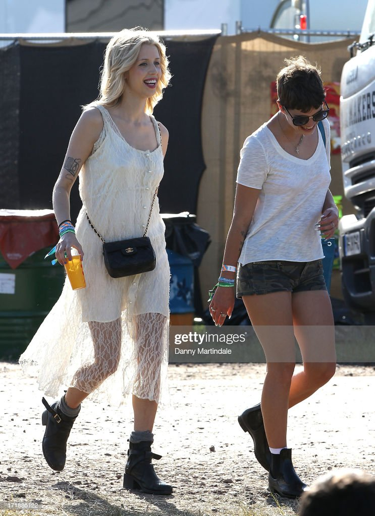 Peaches Geldof (L) and Pixie Geldof attend day 3 of the 2013 Glastonbury Festival at Worthy Farm on June 29, 2013 in Glastonbury, England.
