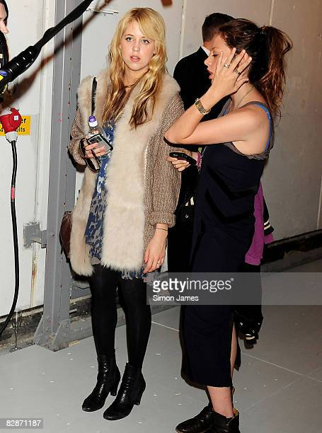 Peaches Geldof gives an interview at the Topshop LFW Spring Summer 2009 runway show in the University Of Westminster on 14 September 2008 in London...