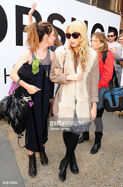 Peaches Geldof leaves the Topshop LFW Spring Summer 2009 runway show in the University Of Westminster on 14 September 2008 in London England