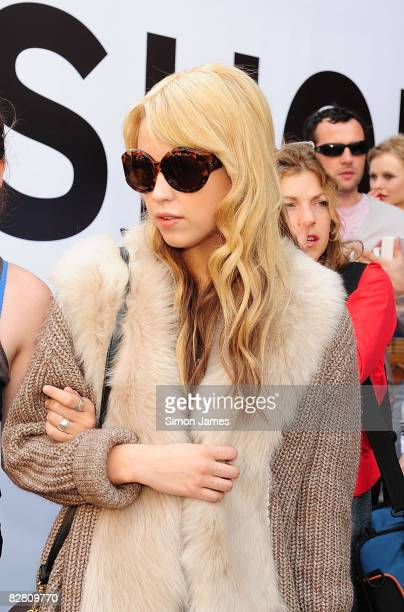 Peaches Geldof leaves the TopShop Unique fashion show at the University of Westminster on 14 September 2008 in London England