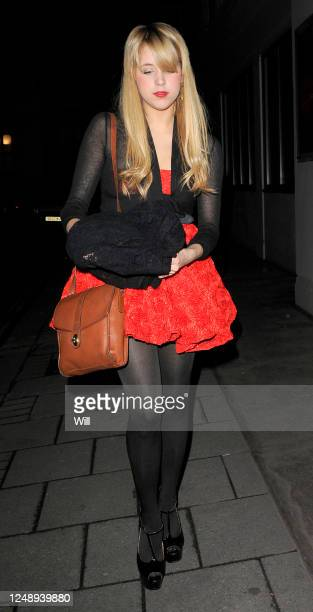 Peaches Geldof returns to her hotel having spent the evening at Bungalow 8 nightclub with Blake Wood on December 05, 2008 in London, England.